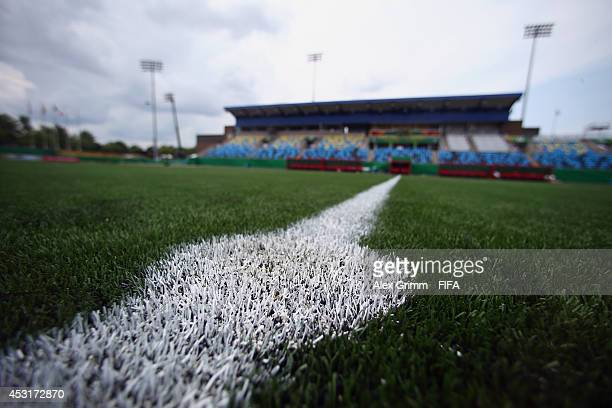 The artificial turf is seen in a general view of the Moncton stadium on August 4 2014 in Moncton Canada