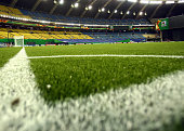 The artificial turf is seen in a general view of the Olympic stadium on August 4 2014 in Montreal Canada
