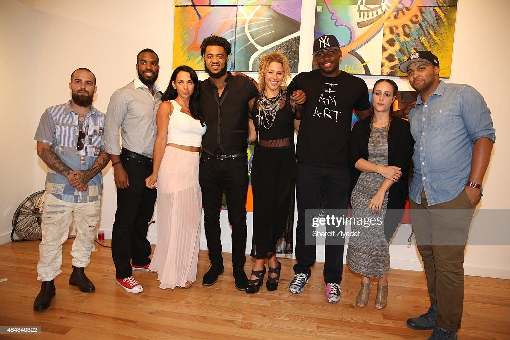 BK the Artist Daniel Hibbert Aaron Maybin Kennedy Yanko and Desmond Mason at Joseph Gross Gallery on August 15 2015 in New York City