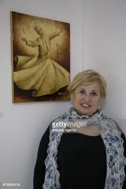 The artist Mine Celik is portrayed during the inauguration of the exhibition entitled 'Napoletana' curated by Kani Kaya at CAMContemporary Art Museum...
