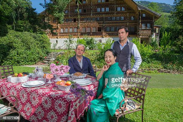 the artist Setsuko Kosslowska de Rola widow of the artist Balthus in her chalet in Switzerland among ceramic objects of her creation the artist with...