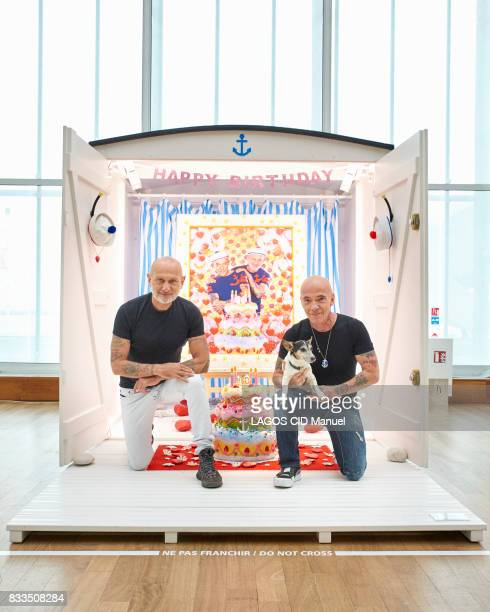 the artists Pierre and Gilles for their exhibition Clairobscur at the Musee Art Moderne on july 20 2017 in Le Havre France