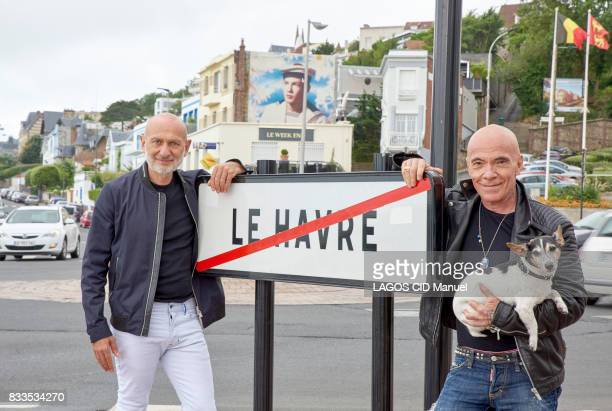 the artists Pierre and Gilles for their exhibition Clairobscur at the Musee Art Moderne on july 10 2017 in Le Havre France