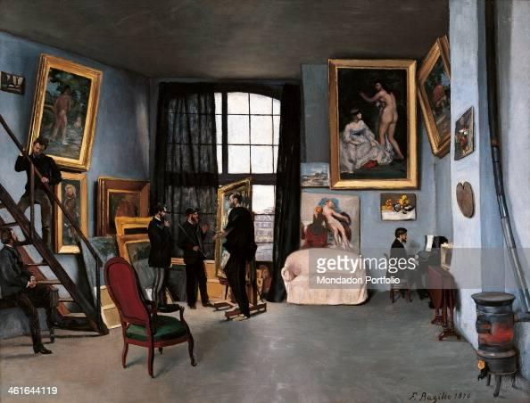 The Artists Studio Rue de la Condamine by JeanFredric Bazille 19th Century oil on canvas 97 x 112 cm France Ile de France Paris Musée d'Orsay Whole...