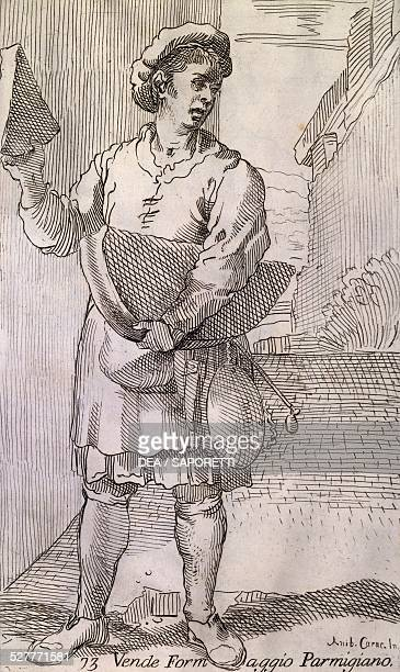 The Arts of Bologna seller of Parmesan cheese engraving by Simon Guillain after drawing by Annibale Carracci Italy 17th century