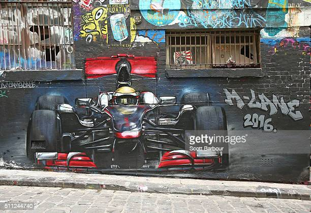 The artwork adorns the wall during the AGPC MLane Announcement for the 2016 Formula 1 Rolex Australian Grand Prix at Hoiser Lane on February 17 2016...