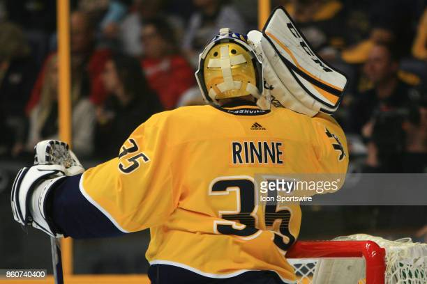 The artwork on the back of the mask of Nashville Predators goalie Pekka Rinne is shown during the NHL game between the Dallas Stars and the Nashville...