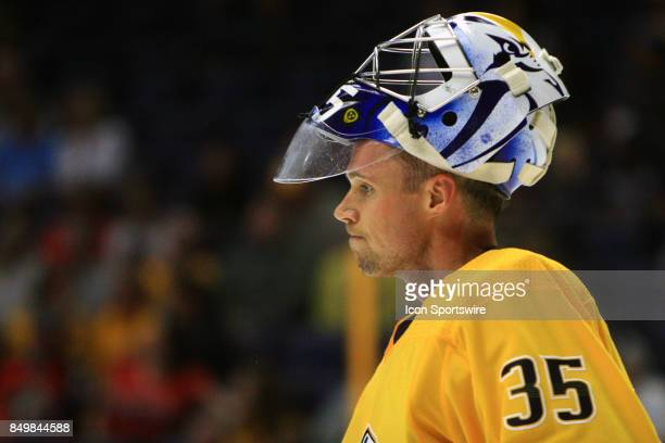 The artwork on the mask of Nashville Predators goalie Pekka Rinne is shown during the second preseason game between the Nashville Predators and the...