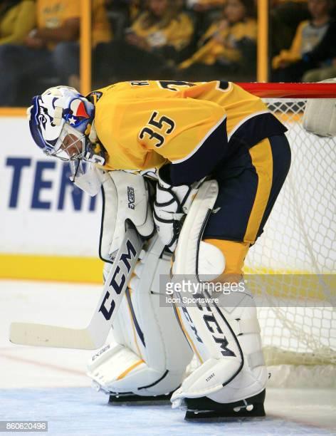 The artwork on the mask of Nashville Predators goalie Pekka Rinne is shown during the NHL game between the Nashville Predators and the Philadelphia...