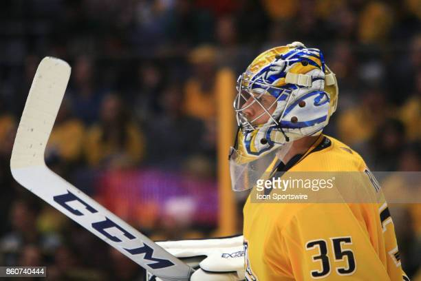 The artwork on the mask of Nashville Predators goalie Pekka Rinne is shown during the NHL game between the Dallas Stars and the Nashville Predators...