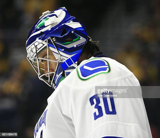 The artwork on the mask of Vancouver Canucks goalie Ryan Miller is shown during the NHL game between the Nashville Predators and the Vancouver...