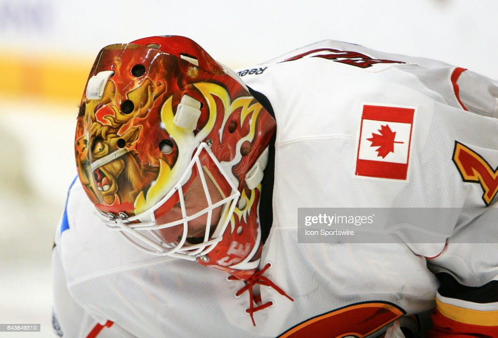 The artwork on the top of the mask of Calgary Flames goalie Brian Elliott (1) is shown during the NHL game between the Nashville Predators and the Calgary Flames, held on February 21, 2017, at Bridgestone Arena in Nashville, Tennessee.