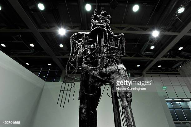 The artwork 'Striding Figure II ' by Thomas Houseago is displayed in the Unlimited section of Art Basel on June 16 2014 in Basel Switzerland Art...