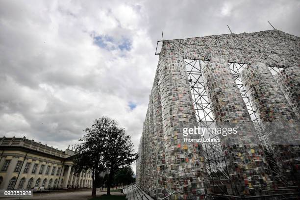 The artwork 'The Parthenon of Books' by artist Marta Minujin pictured on June 7 2017 in Kassel Germany The documenta 14 is the fourteenth edition of...