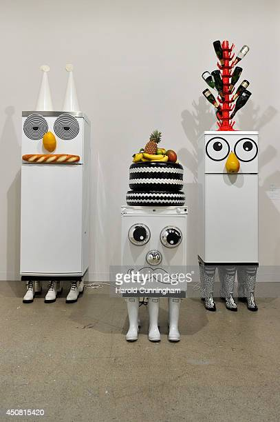 The artworks 'Refrigerator' by Rob Pruitt are displayed in the gallery section of Art Basel on June 18 2014 in Basel Switzerland Art Basel one of the...