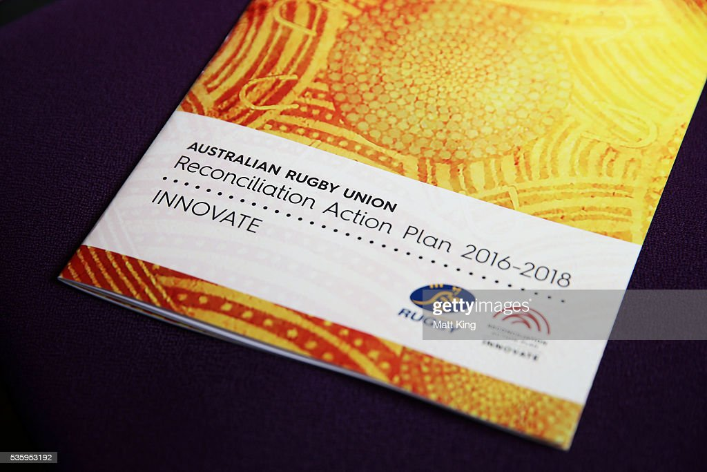 The ARU Reconciliation Action Plan is seen during the ARU Reconciliation Action Plan Launch at the National Centre for Indigenous Excellence on May 31, 2016 in Sydney, Australia.