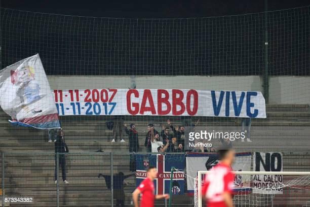 The AS Gubbio 1910 fans remember Gabriele Sandri during the Lega Pro 17/18 group B match between Teramo Calcio 1913 and AS Gubbio 1910 at Gaetano...