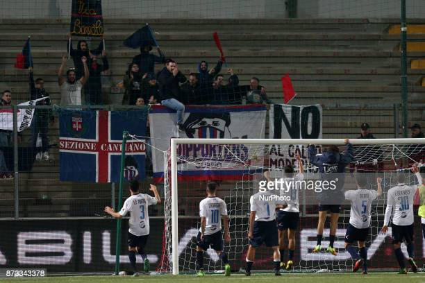 The AS Gubbio 1910 players celebrate the victory with the fans after the Lega Pro 17/18 group B match between Teramo Calcio 1913 and AS Gubbio 1910...
