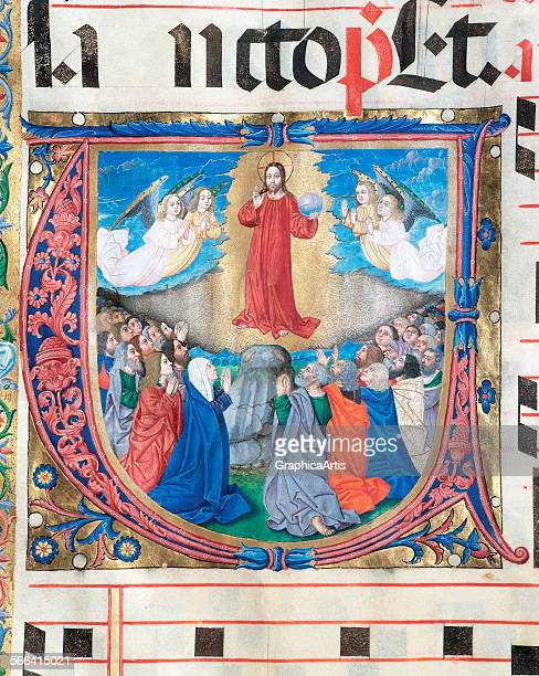 The Ascension of Jesus Christ medieval manuscript miniature on vellum Spanish 15th century From an antiphonary at the Soria Chapter House Soria Spain...