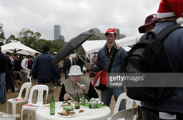 The Ashes 20062007 Undaunted by squally Melbourne weather Hugh Colquhoun sits down for his Barmy Army Christmas dinner sheltering under a brolly held...
