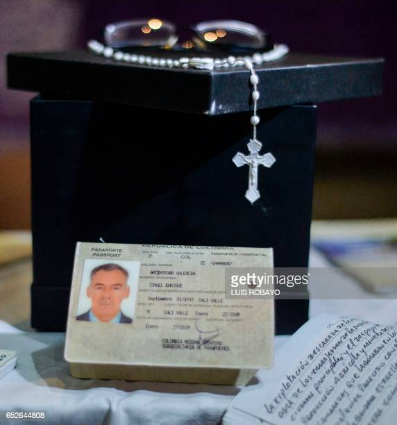 The ashes and some belongings of Ismael Enrique Arciniegas who was arrested and executed in China for drug trafficking are seen during his funeral...