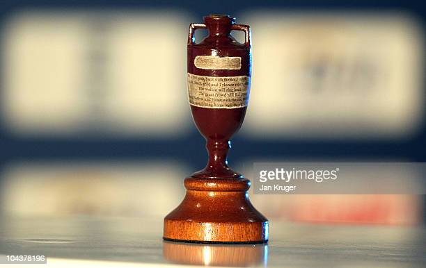 The Ashes Trophy is seen on display during the England Ashes Squad announcement at The Brit Oval on September 23 2010 in London England