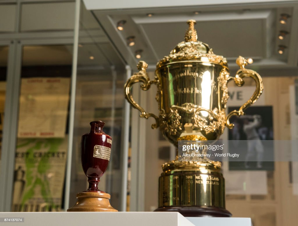 The Ashes Urn and The Webb Ellis Cup are seen during the Rugby World Cup 2019 Trophy Tour at Lords on November 14, 2017 in London, England.