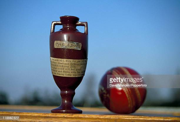 The Ashes urn which is the trophy that England and Australia compete for in cricket Test matches 1st May 2011 The urn is photographed adjacent to a...