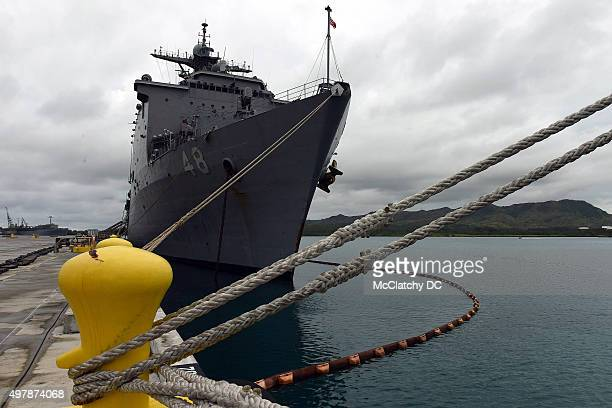 The Ashland LSD a dock landing ship sit in the newly refurbished Victor Wharf on Naval base Guam on Aug 5 2015 In the next few years thousands of...