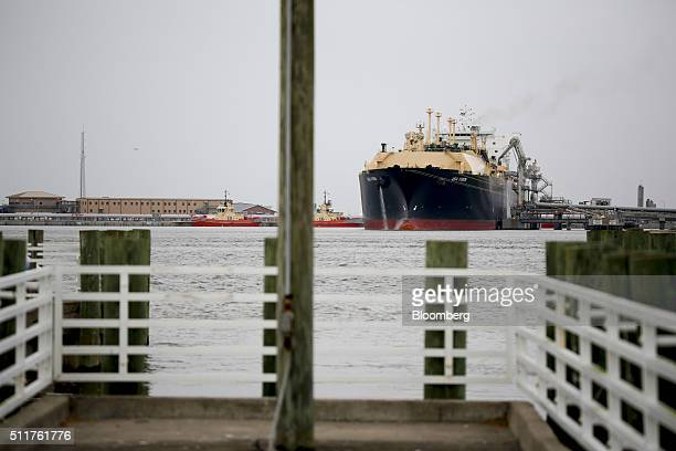The Asia Vision LNG carrier ship sits docked at a terminal in Sabine Pass Texas US on Monday Feb 22 2016 The first tanker that will ship liquefied...