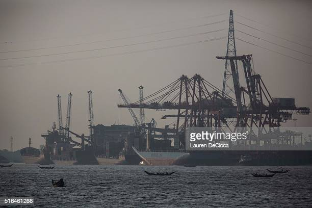 The Asia World deep sea port in downtown Yangon on March 16 2016 in Yangon Burma Myanmar's foreign investment nearly tripled between 2010 and 2013 as...