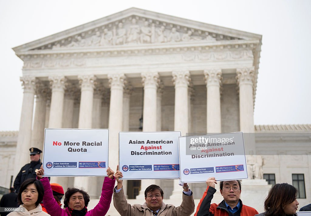 The Asian American Coalition for Education holds a rally outside of the US Supreme Court against racebased affirmative action policies at the...