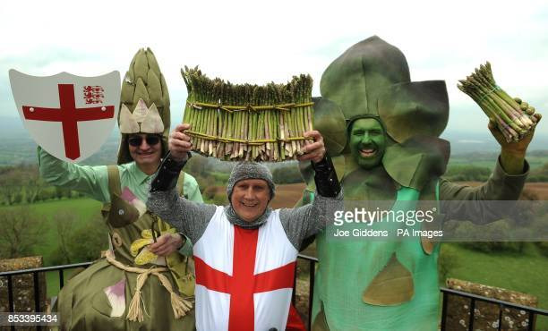The Asparafairy St George and Gus the Asparagus man celebrate the start of the asparagus season at Broadway Tower Worcestershire