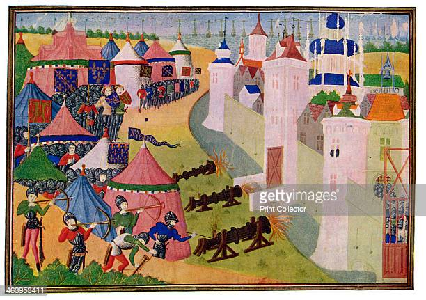 'The Assault on the Strong Town of Afrique' 15th Century Miniature colour print from The Chronicler of European Chivalry by GG Coulton