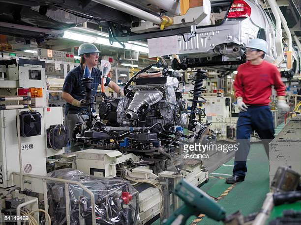 The assembly line at the Toyota Prius factory.