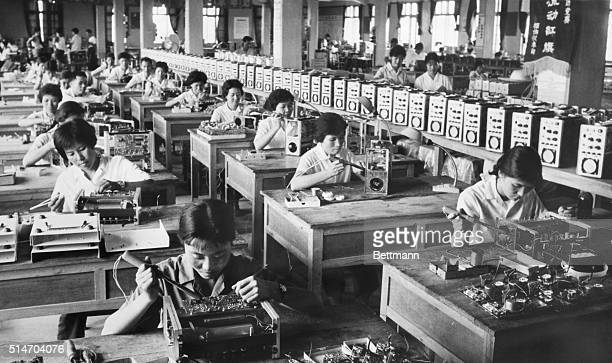 The assembly line in a factory making supersonic defect detectors and diagnostic devices in Shantou China | Location Shantou Supersonic Electronic...