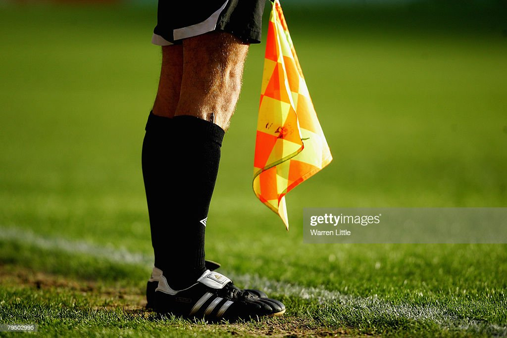 The Assistant Referee keeps his flag ready during the CocaCola Championship match between Crystal Palace and Southampton at Selhurst Park on February...