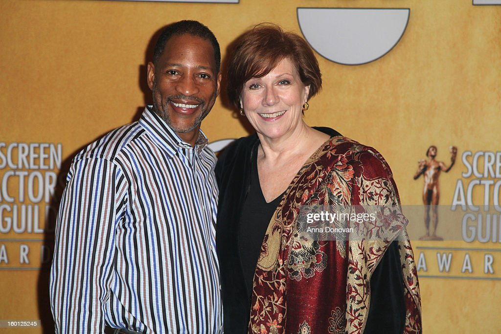 The associate national executive director Mathis Dunn and SAG-AFTRA president <a gi-track='captionPersonalityLinkClicked' href=/galleries/search?phrase=Roberta+Reardon&family=editorial&specificpeople=4401659 ng-click='$event.stopPropagation()'>Roberta Reardon</a> attend the Red Carpet Roll Out and presenter rehearsals for the 19th annual Screen Actors Guild Awards at The Shrine Expo Hall on January 26, 2013 in Los Angeles, California.