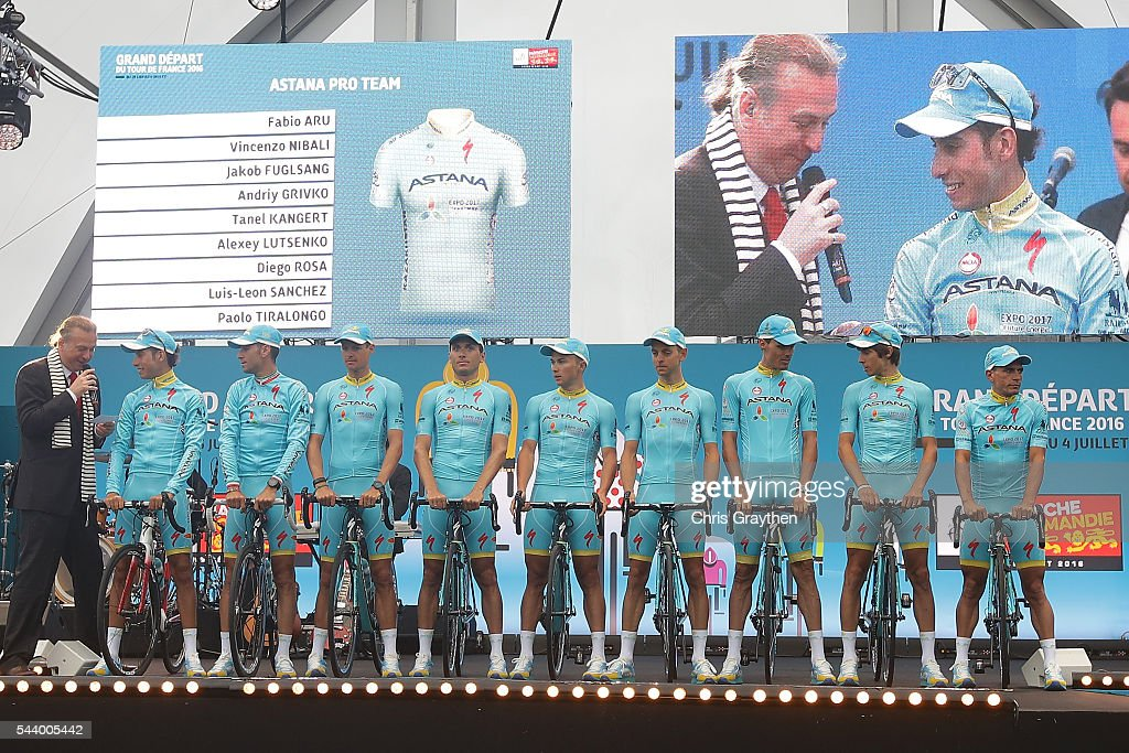 The Astana Pro Team is introduced during the team presentation ahead of the 2016 Le Tour de France on June 30, 2016 in Sainte-Mere-Eglise, France.