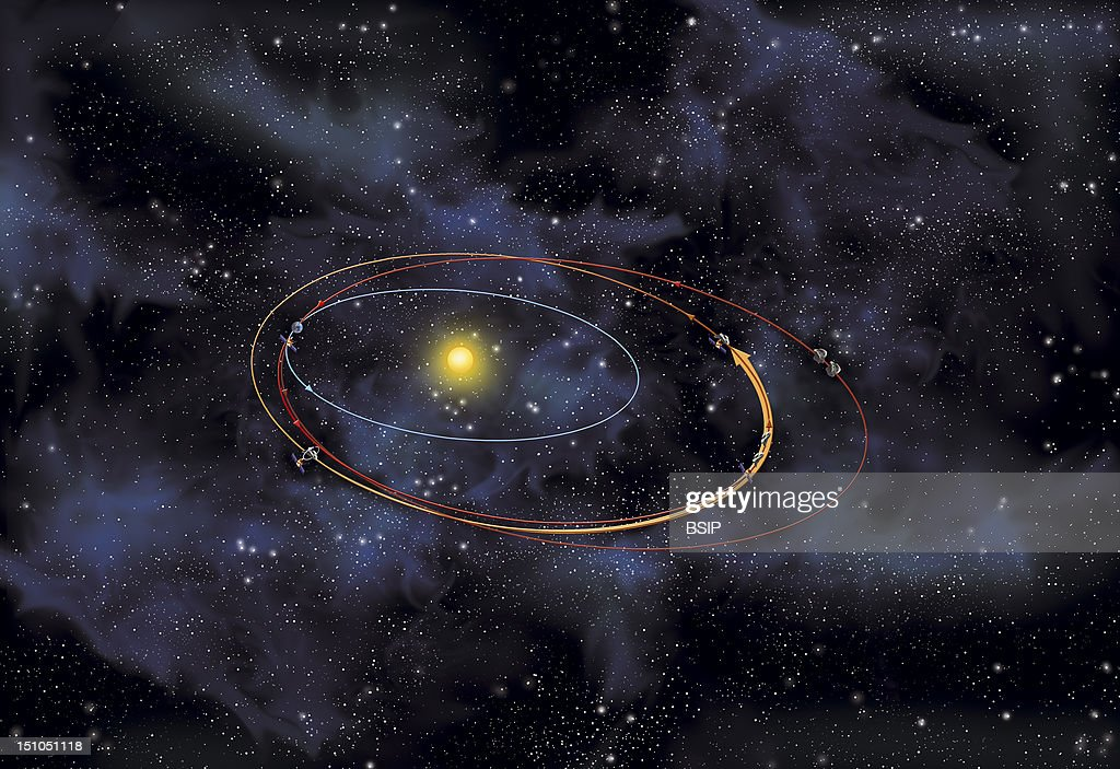 The Asteroid Eros Illustration Of The Us Space Probe Near Travelling Through Space To Record Observations 1996 The Near Probe Is Launched Into Space...