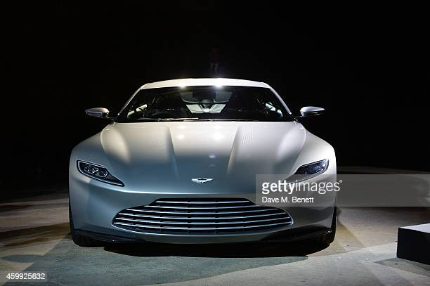 The Aston Martin db10 is revealed at a photocall with cast and filmmakers to mark the start of production which is due to commence on the 24th Bond...