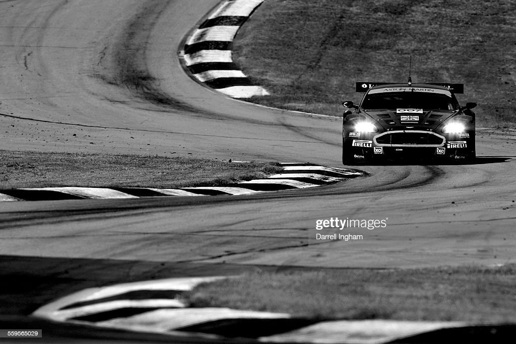 The Aston Martin DBR9 driven by Tomas Enge and Darren Turner during the American Le Mans Series Petit Le Mans at Road Atlanta on September 30 2006 in...