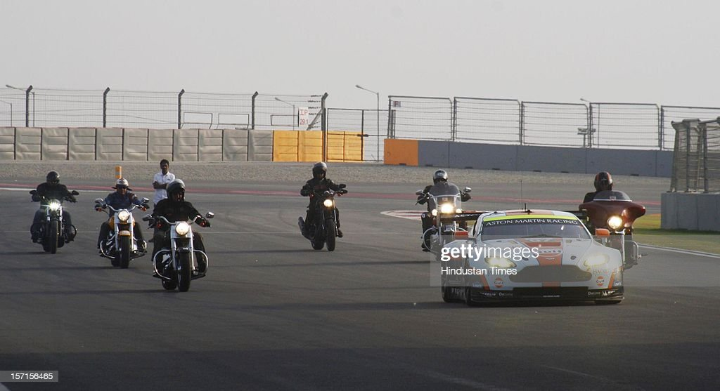The Aston Martin GTE during its debuted at the Buddh International Circuit on November 19, 2012, in Greater Noida, India. One of the most powerful cars in its class it can touch top speed of 300 km/h and capable of reaching 100 km/h in just 3 seconds.