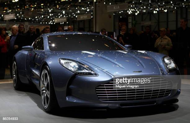 The Aston Martin One77 car is pictured at the 79th Geneva International Motor Show on March 5 2009 in Geneva SwitzerlandThe show features World and...