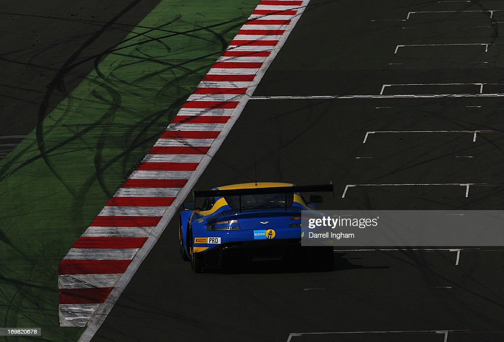 The Aston Martin Racing Aston Martin Vantage GT3 driven by Darren Turner Stefan Mucke and Frederic Makowiecki during the Blancpain Endurance GT...