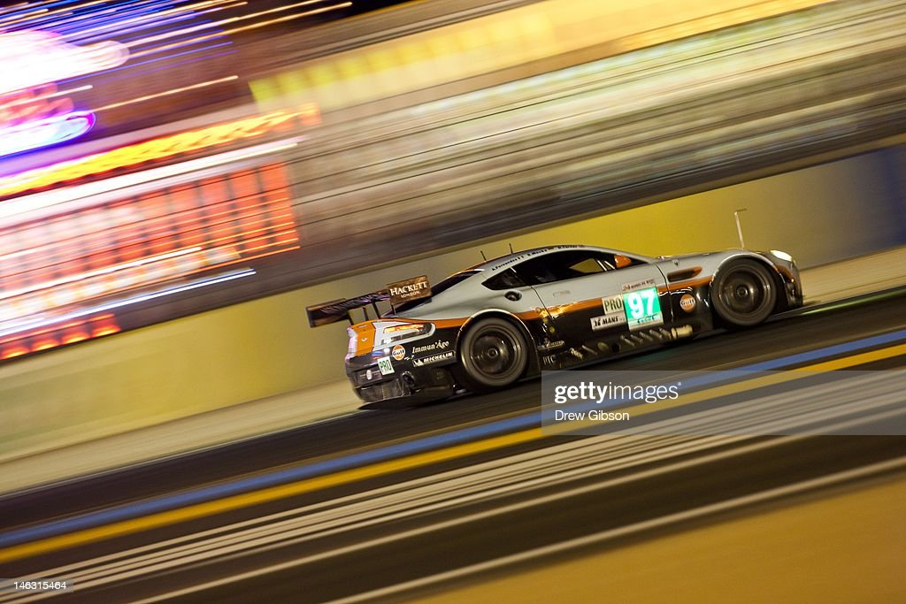 The Aston Martin Racing Aston Martin Vantage V8 driven by Stefan Mucke of Germany Adrian Fernandez of Mexico and Darren Turner of England during...