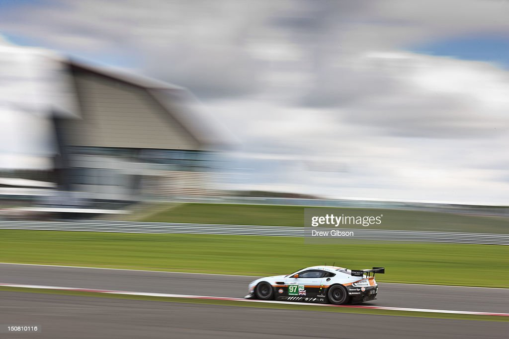 The Aston Martin Racing Aston Martin Vantage V8 driven by Stefan Mucke of Germany Adrian Fernandez of Mexico and Darren Turner of England during the...