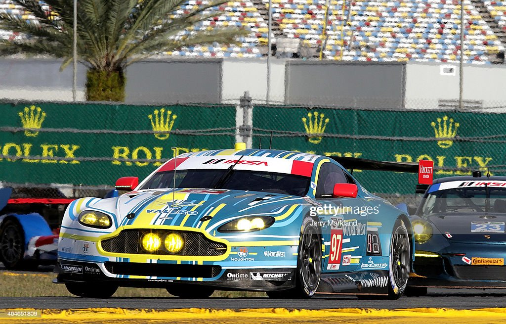 The Aston Martin Racing Aston Martin Vantage V8 driven by Stefan Mucke Darren Turner Pedro Lamy Richie Stanaway and Paul Dalla Lana races during...