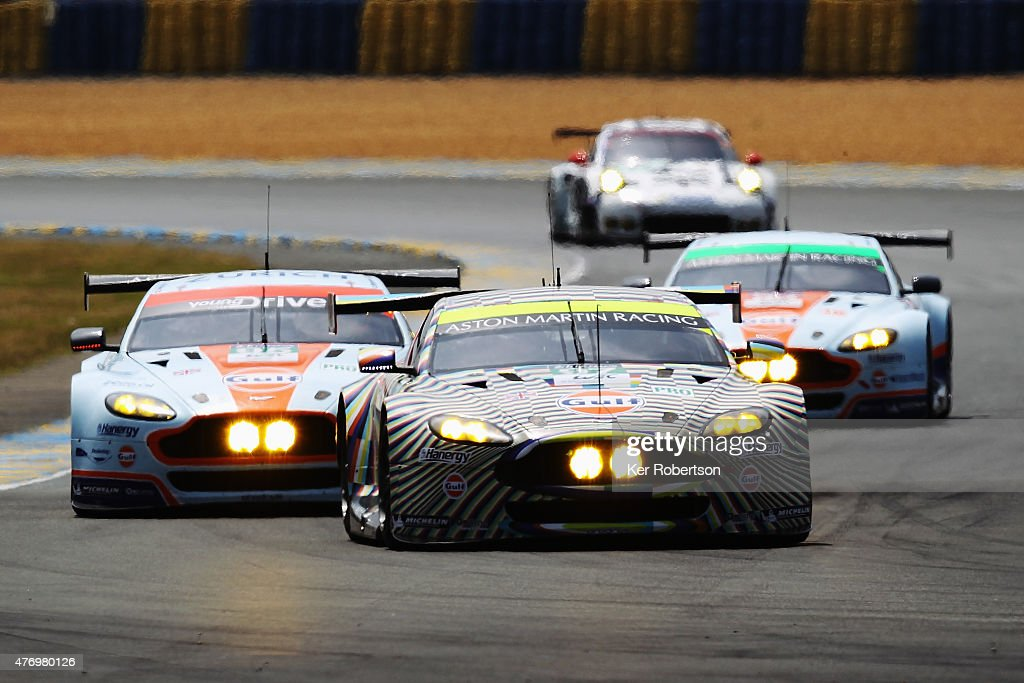 The Aston Martin Racing Vantage 'Art Car' of Darren Turner Stefan Mucke and Rob Bell drives during the Le Mans 24 Hour race at the Circuit de la...