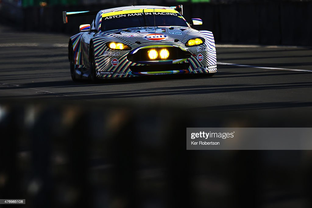 The Aston Martin Racing Vantage 'Art Car' of Darren Turner Stefan Mucke and Rob Bell drives during morning warm up for the Le Mans 24 Hour race at...